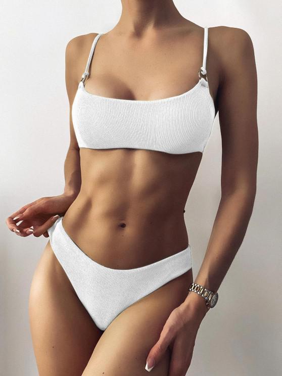 shops ZAFUL Ribbed O Ring Bikini Set - WHITE S