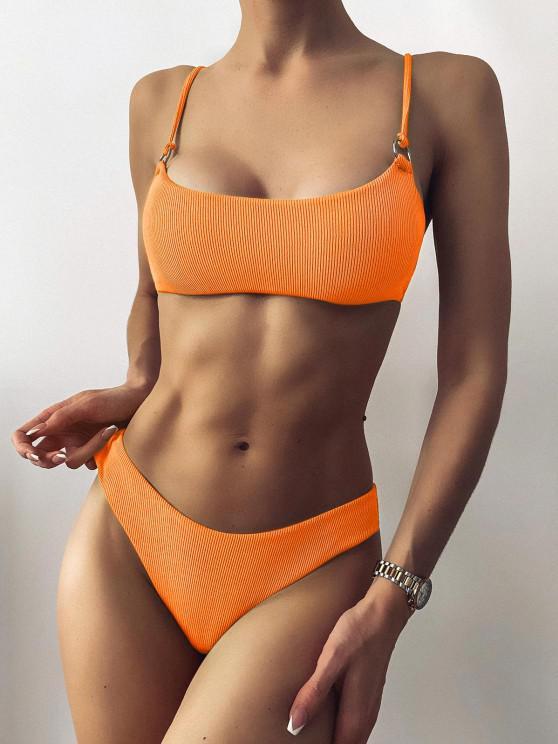 new ZAFUL Ribbed O Ring Bikini Set - ORANGE M