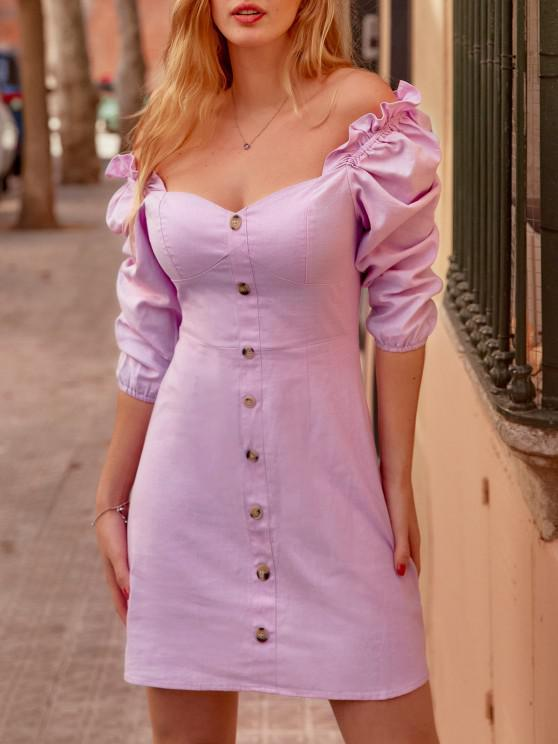 fashion Mock Buttons Puff Sleeve Ruffled Milkmaid Dress - LIGHT PURPLE M
