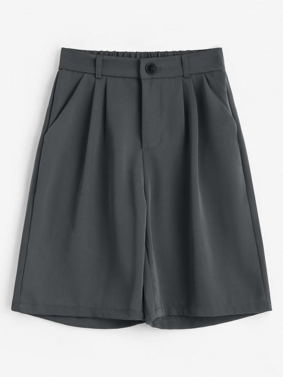 affordable Boyish Pleated Bermuda Shorts - GRAY 2XL