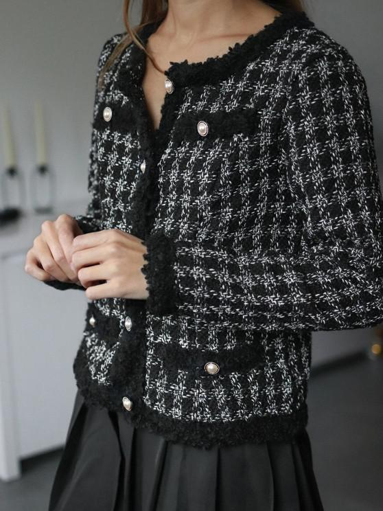 buy ZAFUL Plaid Pearly Button Up Tweed Jacket - BLACK M