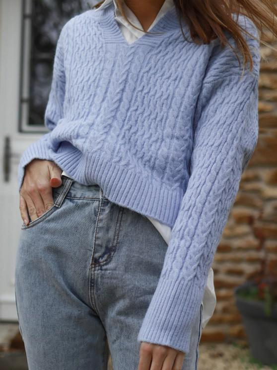 buy Ribbed Trim Slit Collar Cable Knit Sweater - SKY BLUE L