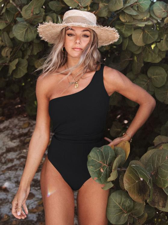 hot ZAFUL One Shoulder Belt Ribbed One-piece Swimsuit - BLACK M