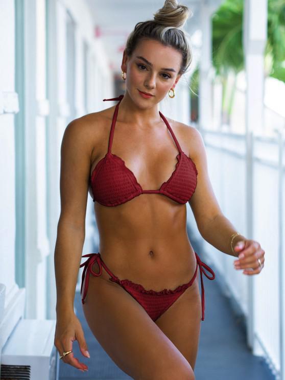 women's ZAFUL Halter Ribbed Smocked String Bikini Swimwear - DEEP RED M