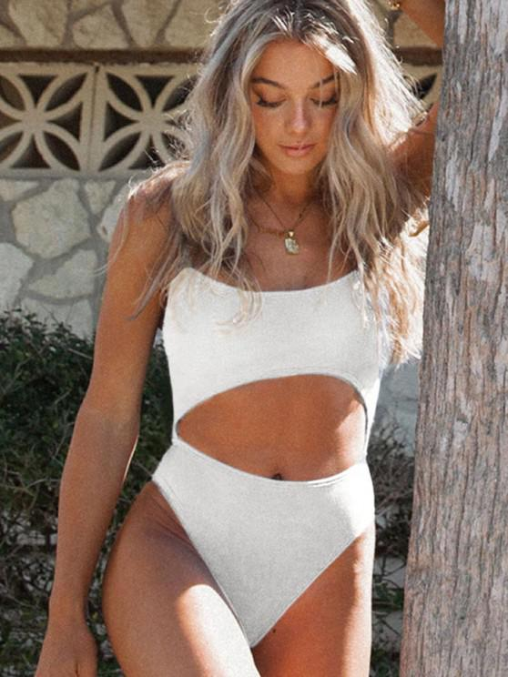 trendy ZAFUL Lace-up Cutout Ribbed One-piece Swimsuit - WHITE S