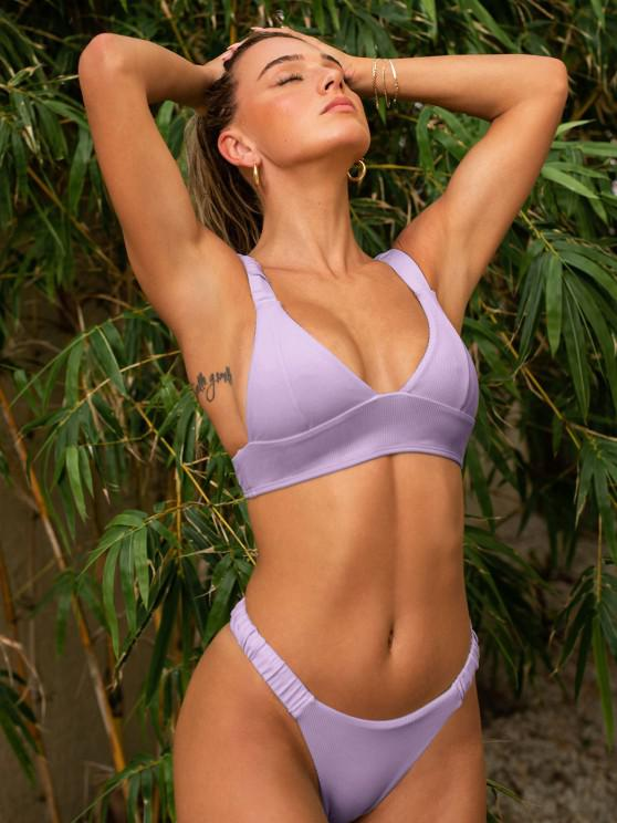 lady ZAFUL Elasticated Straps Ribbed Bikini Swimwear - LIGHT PURPLE S