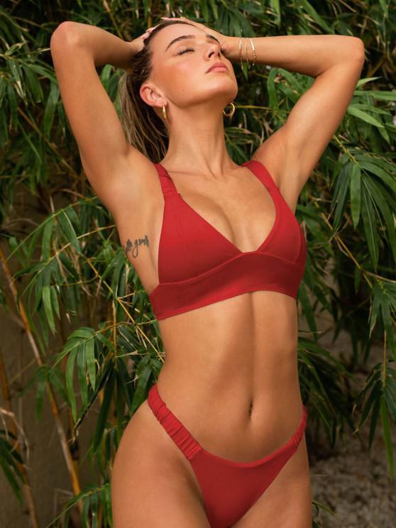 trendy ZAFUL Elasticated Straps Ribbed Bikini Swimwear - RED M