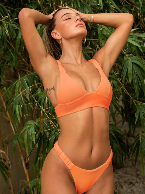 lady ZAFUL Elasticated Straps Ribbed Bikini Swimwear - ORANGE S
