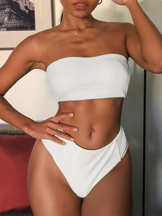 affordable ZAFUL Textured High Waisted Bandeau Bikini Swimsuit - WHITE L