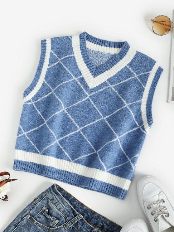 Rhombus V Neck Colorblock Sweater Vest - أزرق M