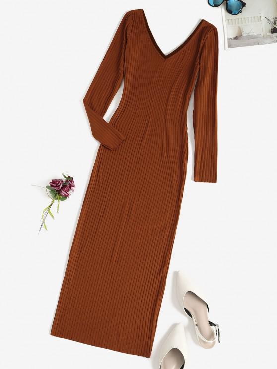 best Long Sleeve Ribbed Double V Slinky Dress - COFFEE M