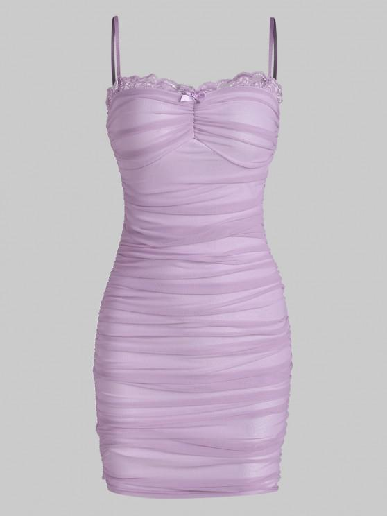 fancy Mesh Lace Trim Ruched Cami Bodycon Dress - PURPLE M