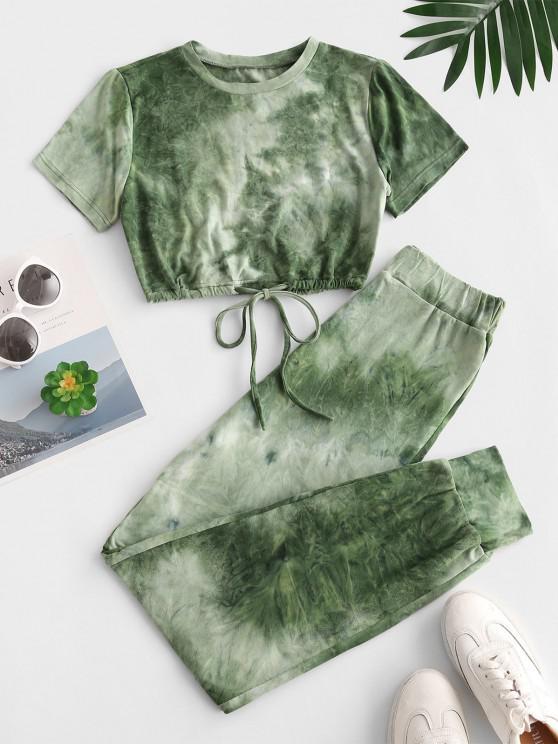 fashion Tie Dye Sports Drawstring Hem Pants Set - DEEP GREEN S