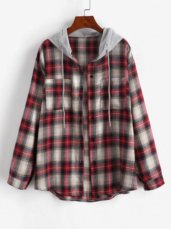 unique Hooded Checked Front Pocket Jacket - RED S
