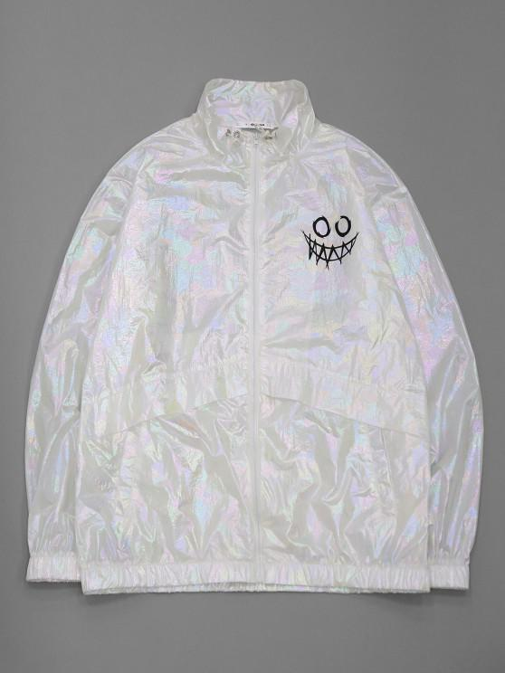 womens ZAFUL Cartoon Face Print Iridescent Color Jacket - WHITE M