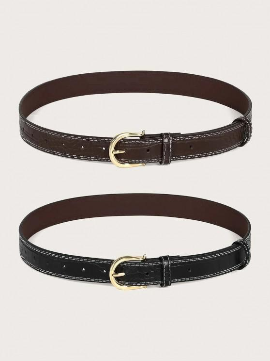 buy Classic Animal Embossed Stitching Buckle Belt Set - MULTI