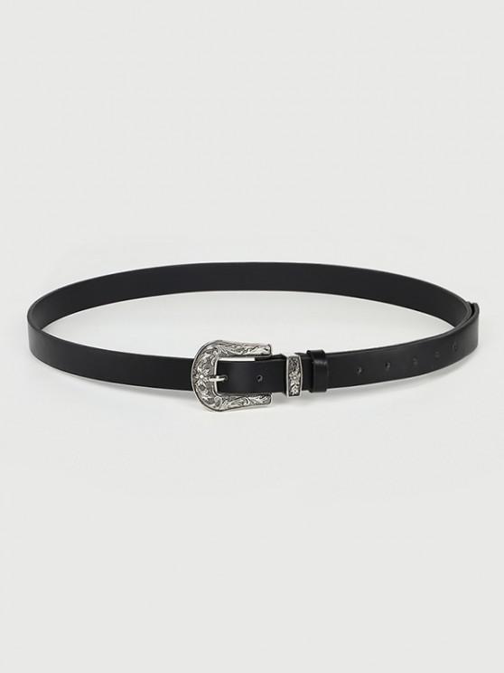 Cinturón Abotonado Floral Hebilla Tallada - Negro