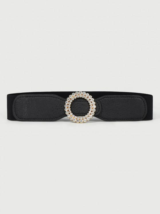 ladies Round Shape Rhinestone Inlaid Elastic Waist Belt - BLACK