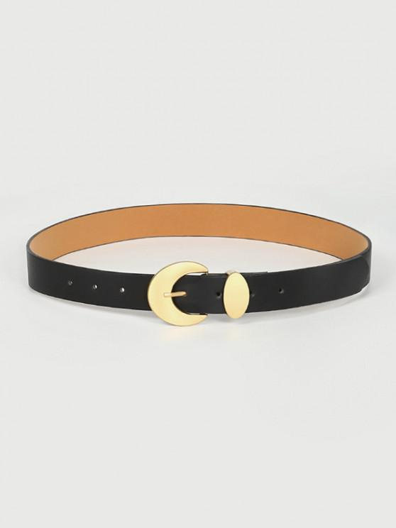 Moon Shape Pin Buckle Belt - أسود