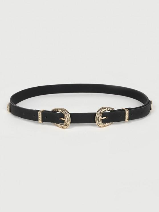 buy Carved Double Buckle Western Belt - BLACK