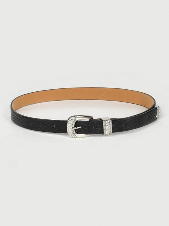 Retro Rhinestone Pin Buckle Belt - أسود