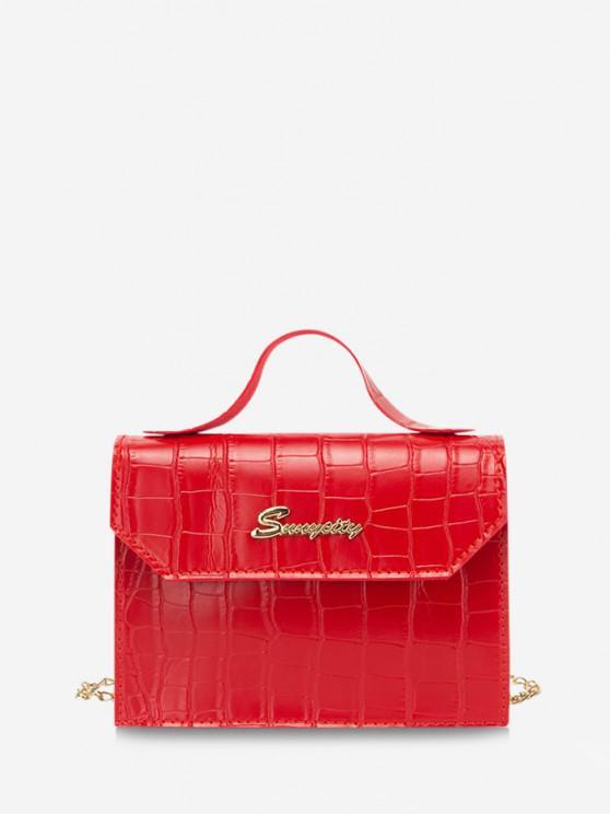 buy Letter Pattern Chain Crossbody Bag - RED