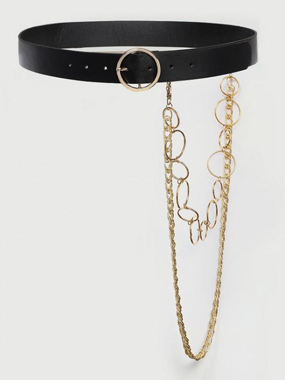 women Layered Detachable Chains Buckle Belt - BLACK
