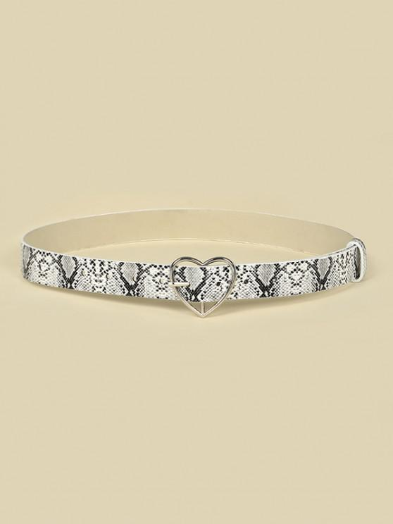 ladies Heart Buckle Snakeskin Pattern Belt - WHITE