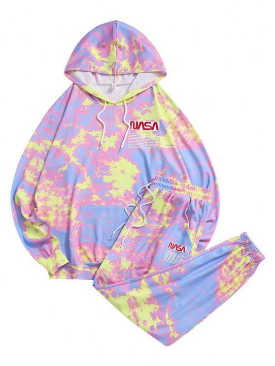 Letter Pattern Tie Dye Hoodie and Pants Set - وردي فاتح L