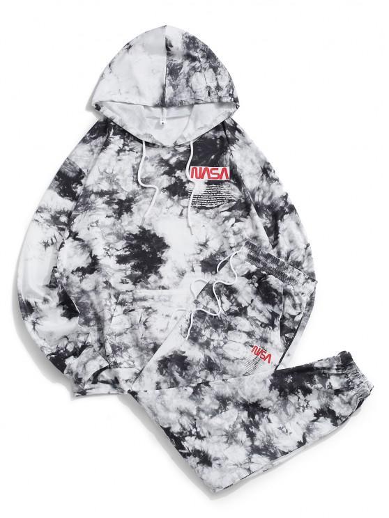 Letter Pattern Tie Dye Hoodie and Pants Set - أسود L