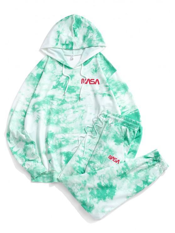 womens Letter Pattern Tie Dye Hoodie and Pants Set - GREEN M