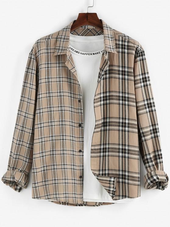 shops ZAFUL Plaid Print Long Sleeve Shirt - LIGHT COFFEE XXL