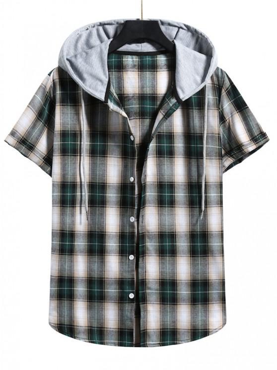 ladies Plaid Print Short Sleeve Color Blocking Hooded Shirt - DARK FOREST GREEN M