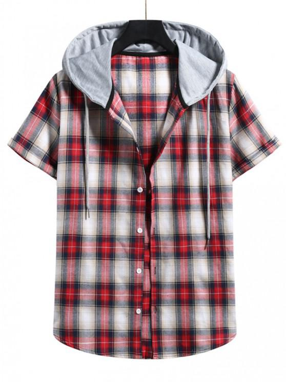 Plaid Print Short Sleeve Color Blocking Hooded Shirt - الحمم الحمراء XXL