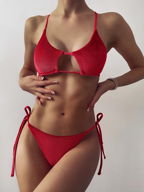 women's ZAFUL Ribbed Velvet Cutout String Bikini Swimwear - RED WINE M