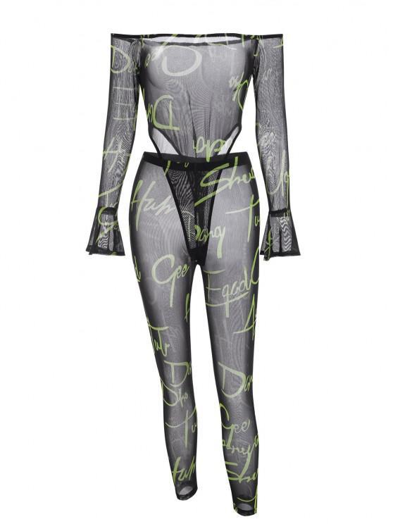 Body a Spalle Scoperte e Pantaloni a Rete con Stampa di Lettere - Nero L