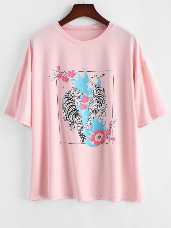 outfits ZAFUL Plus Size Tiger Floral Graphic Tee - LIGHT PINK 4XL