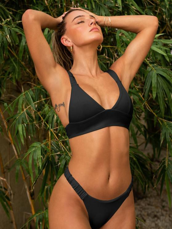 affordable Jessica Stockstill x ZAFUL Elasticated Straps Ribbed Bikini Swimwear - BLACK S