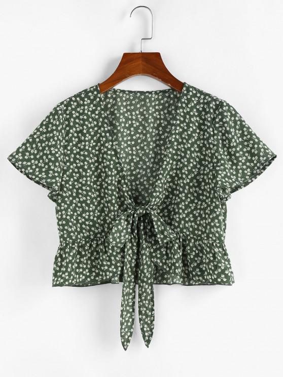 best ZAFUL Ditsy Print Tie Front Flounce Hem Blouse - GREEN L