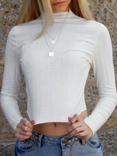 ZAFUL Lettuce Trim Ribbed Knit T Shirt - White L