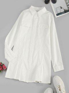Flap Details Long Sleeve Shirt Dress - White S