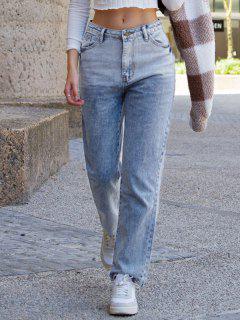 Pantalón Recto Cintura Alta Y Bolsillo - Azul S
