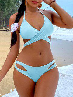 ZAFUL Ensemble De Bikini Enveloppé Découpé à Col Halter - Bleu Ciel Léger  M