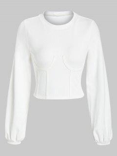 ZAFUL Sweat-shirt Corset Court Sous-Poitrine - Blanc Lait L