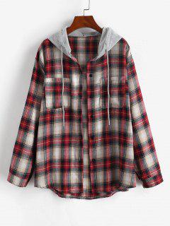 Hooded Checked Front Pocket Jacket - Red S