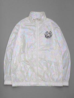 ZAFUL Cartoon Face Print Iridescent Color Jacket - White S