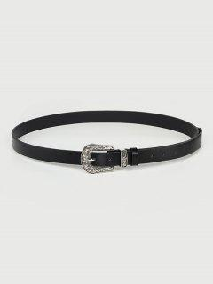 Floral Carved Buckle Western Belt - Black