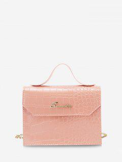 Letter Pattern Chain Crossbody Bag - Orange Pink