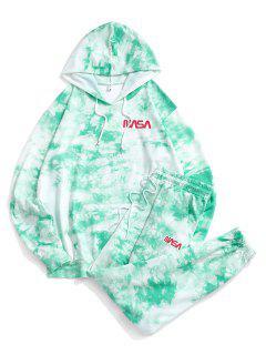 Letter Pattern Tie Dye Hoodie And Pants Set - Green M