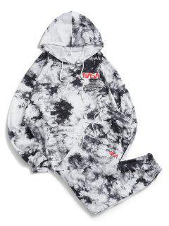 Letter Pattern Tie Dye Hoodie And Pants Set - Black 2xl